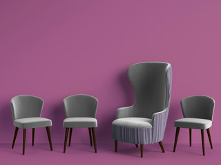Classic armchair among simple chairs in grey color on purple background with copy space
