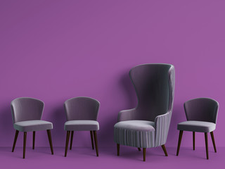 Classic armchair among simple chairs in violet color on violet background with copy space