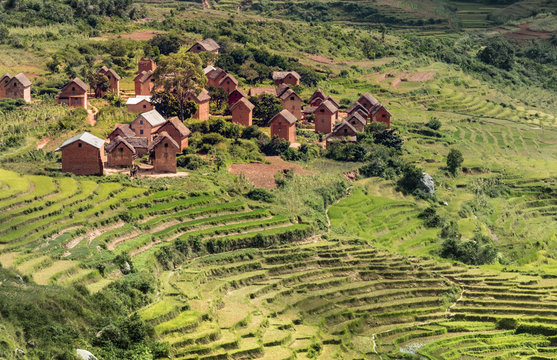 Rice terraces and Merina villages along the National Route 7 South of Tananarivo, Madagascar