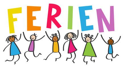 Multikulti Kinder springen hoch mit bunten Buchstaben FERIEN, Schulferien, Freude, Strichmännchen