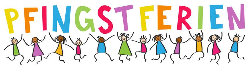 Multikulti Kinder springen hoch mit bunten Buchstaben PFINGSTFERIEN, Schulferien, Freude, Strichmännchen
