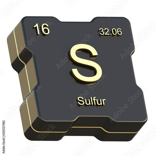 Sulfur Element Symbol From Periodic Table On Futuristic Black Icon