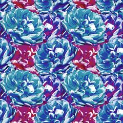 Seamless background. Tulips. Stylization: watercolor.