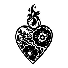 Graphic heart with floral decorations