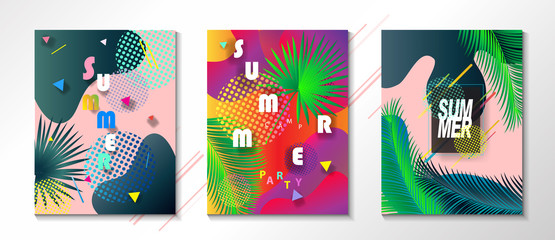 Hello Summer. Abstract geometric dynamic colorful bubbles shapes modern bright color design template set. Festival, Carnival, Attraction, kids, sports, camp, travel world concept.