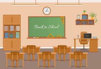 School classroom with chalkboard, student desks clock and teacher's desk. School class room interior design.