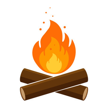Simple, flat campfire icon. Isolated on white