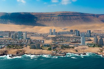 Aerial view of Iquique, a northen port in the Atacama desert in Chile