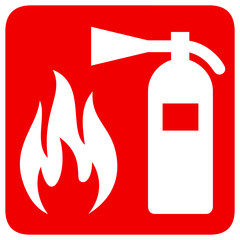 Fire safety red banner isolated on white background. Fire extinguisher and flame symbols. Vector illustration