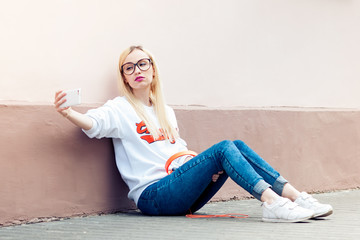 young beauty american girl make selfie