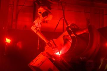 Robot welding in engineering factory