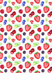 Watercolor forest berry mix pattern texture background