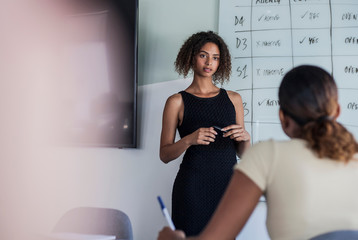 Businesswoman giving presentation in office