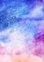 Watercolor colorful starry space galaxy nebula background pattern texture