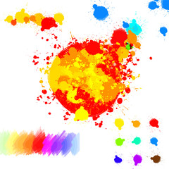 Set of various colorful ink splatter drops