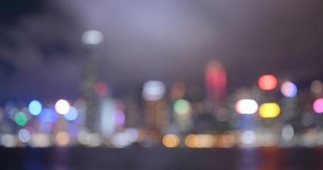Wall Mural - Hong Kong city in blur at night