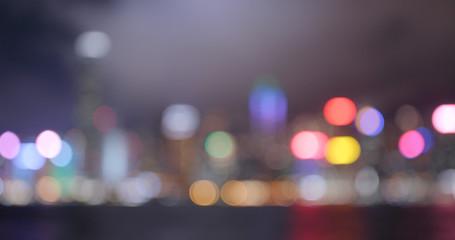 Hong Kong city in blur at night