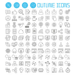 social media, social network icons set, web development icons, outline theme vector icons