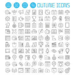 seo and development icons set, internet marketing icons, outline theme vector icons
