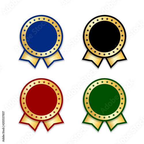 award ribbons isolated set gold design medal label badge