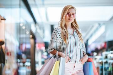 Girls at shopping center