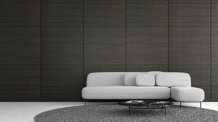 Modern interior living room wood wall with sofa template for mock up 3d rendering. minimal living room design