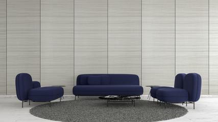 Modern interior living room wood floor with navy blue sofa summer template for mock up 3d rendering. minimal living room design