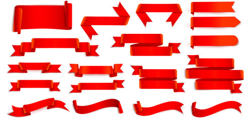 Set of red ribbons isolated on white.