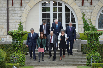 Powell, Ahern, Adams, Cardenas, Agorria Cuevas, Camdessus and Funosas arrive to deliver the Arnaga Declaration at the International Event to Advance in the Resolution of the conflict in the Basque Country, in Cambo-les-Bains