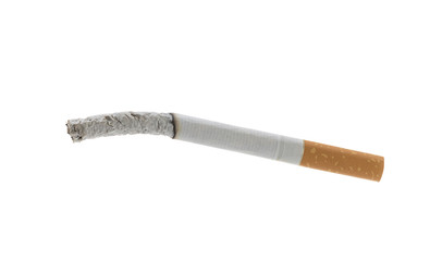Smoked cigarette isolated on white background.