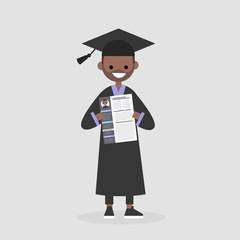 Young graduate holding a CV. Looking for a job after University. Labor market. Flat editable vector illustration, clip art