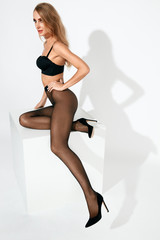 Sexy Woman In Black Dot Tights