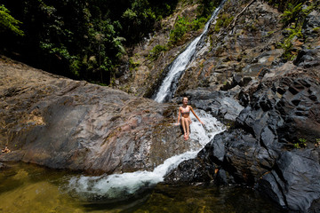 Tourist on Huai To waterfall