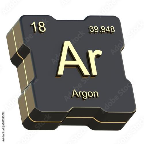 Argon Element Symbol From Periodic Table On Futuristic Black Icon