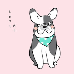 Vector illustration Character design of french bulldog with speech bubble and wording love me on pink color Doodle cartoon style