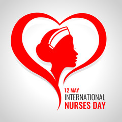 International Nurses day banner with red woman nurses in heart sign vector design