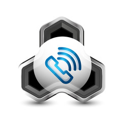 Old fashioned phone button, call center support icon