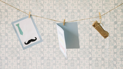 Fathers day composition with clothesline