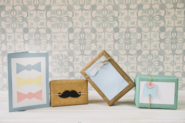 Fathers day composition with present boxes
