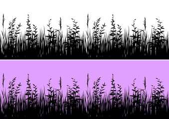 Line Seamless Landscape with Black Silhouette Grass, Isolated on White and Color Background, Element for Your Design. Vector