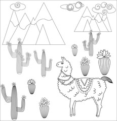 Coloring page of cartoon lama. Vector illustration, coloring book for kids.