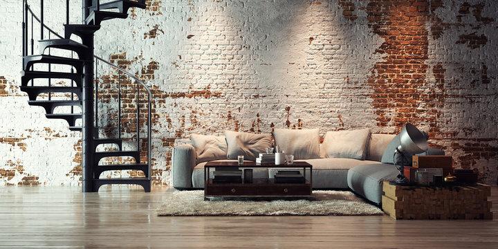 sofa in old vintage brick wall loft - apartment in alten Ziegel Loft