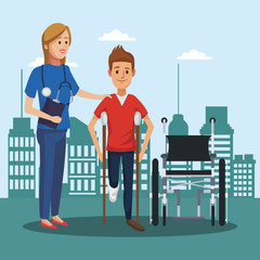 Patient on wheelchair outside hospital cartoons vector illustration graphic design