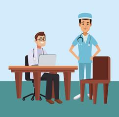 Doctor office cartoon concept vector illustration graphic design