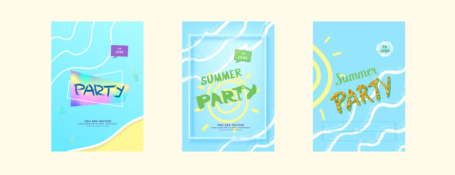 Summer Party flyers. Vector illustration.