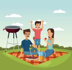 Family picnic at park cartoons vector illustration graphic design