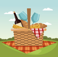 Picnic in the park vector illustration graphic design