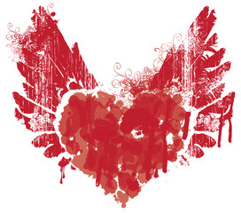 Vector red graphic abstract illustration of heart with wings with ink blots, drops. Bloody heart and wings with spots and splashes isolated on white background. Flying heart. T-shirt design template