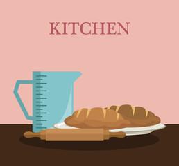 Kitchen utensils and food concept vector illustration graphic design
