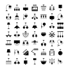 Indoor lighting. Wall, table and ceiling lamps. Home illumination. Vector flat icons.
